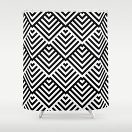 Op art pattern with black and white striped lines Shower Curtain