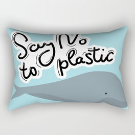 Say no to plastic. Whale, sea, ocean.  Pollution problem concept Eco, ecology banner poster. Rectangular Pillow