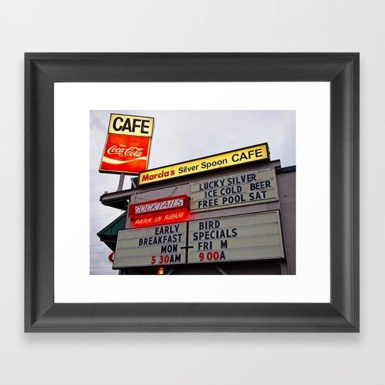 American cafe sign Framed Art Print