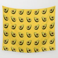avocado Wall Tapestries featuring Avocado Pattern by Alisa Galitsyna