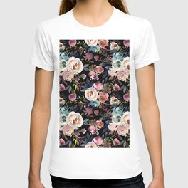Blush pink teal lilac ivory watercolor modern roses T-shirt