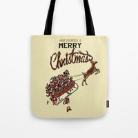 pugs Tote Bags featuring Pugs Christmas by Huebucket