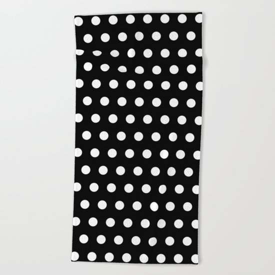 Black White Polka Dots Beach Towel
