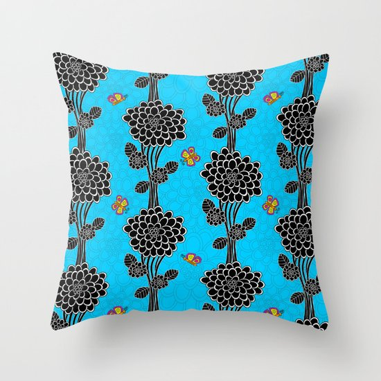 """""""Flowered tree""""  in blue. Throw Pillow"""