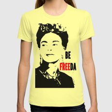 Be FREEda Womens Fitted Tee Lemon SMALL