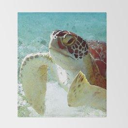 Watercolor Green Turtle Greeting Throw Blanket