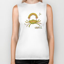 cancer the crab caring and good vibes retro zodiac art by surfy birdy Biker Tank