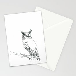 Perched Horned Owl Stationery Cards