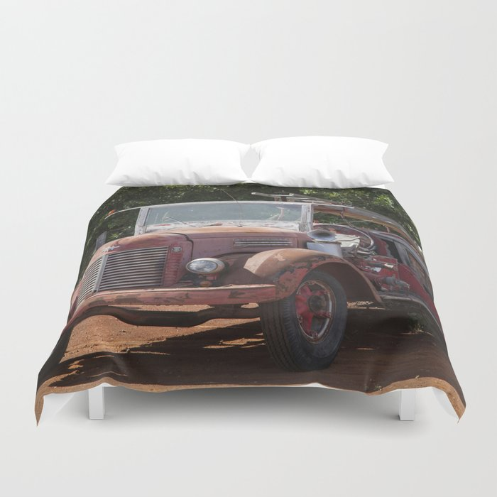 Antique Fire Truck Duvet Cover