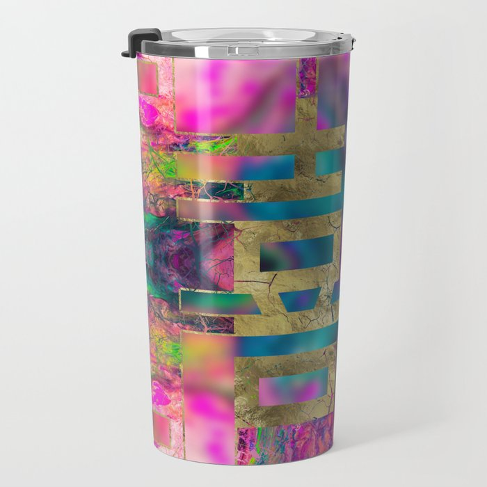 Double Happiness Symbol Gold on Painted Texture Travel Mug
