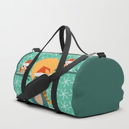 Christmas bear and two little owls Duffle Bag