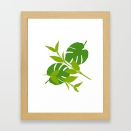 Simply Tropical Leaves with White background Framed Art Print