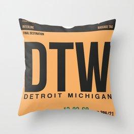 DTW Detroit  Luggage Tag 1 Throw Pillow