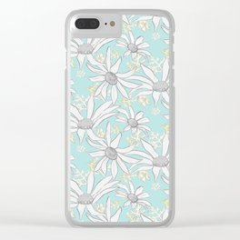 FLANNEL FLOWERS GREY Clear iPhone Case