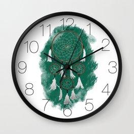 Classic Dreamcatcher: Green background Wall Clock