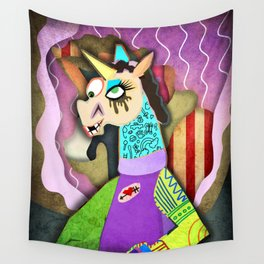 Collage Unicorn Wall Tapestry