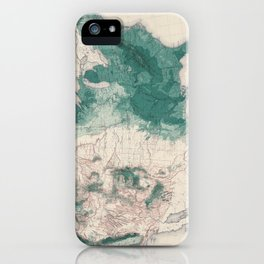 1883 USA Map of Density of Forests iPhone Case