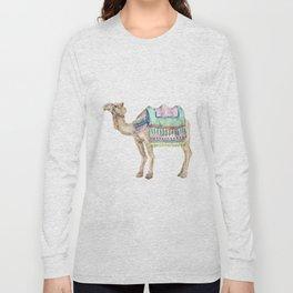Boho Camel Tassel India Morocco Camel Watercolor Long Sleeve T-shirt