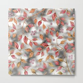 Autumworld- Sparkling pink  glitter leaves on silver background #Society6 Metal Print