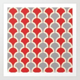 Classic Fan or Scallop Pattern 417 Gray and Red Art Print