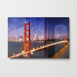 City Art Golden Gate Bridge Composing Metal Print