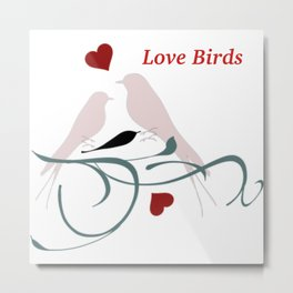 Happy Valentine's Day Love Birds Metal Print