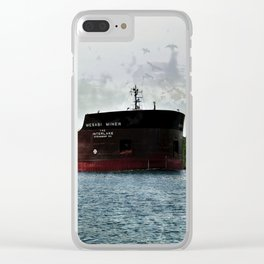 Mesabi Miner freighter and Stats Clear iPhone Case