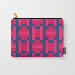 PUZZLE bright red and pink shapes on navy blue background Carry-All Pouch