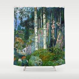 Wilderness Landscape, Wild Foxglove Flowers, White Birch, Stream & Cattle by Nikolai Astrup Shower Curtain