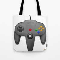 nintendo Tote Bags featuring Nintendo 64 by S3NTRYdesigns