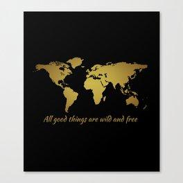 Henry David Thoreau Quote + Faux Gold Foil World Map Canvas Print
