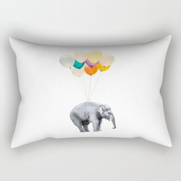 Dreaming Elephant Flying, Animal Zoo Nursery Photo, Large Printable Birthday Party Wall Art, Ballons Rectangular Pillow