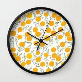Yellow Poms Wall Clock