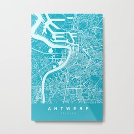 Antwerp Map | Belgium | Blue & Cyan | More Colors, Review My Collections Metal Print