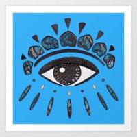 kenzo Art Prints featuring Kenzo eye blue by cvrcak