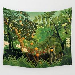 "Henri Rousseau ""Monkeys in the jungle - Exotic landscape"" Wall Tapestry"