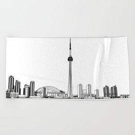 Toronto Skyline - Black on White Beach Towel