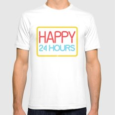 Happy 24 hours White SMALL Mens Fitted Tee