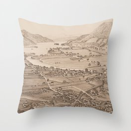 Ticonderoga Map 1884 (Sepia) Throw Pillow