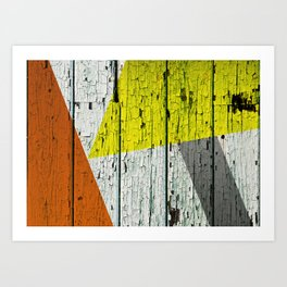 Old Wood Wall painted in Orange Yellow and Grey Art Print