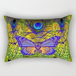 BLUE-PURPLE BUTTERFLY PEACOCK FEATHER PATTERNS Rectangular Pillow