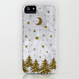 Sparkly Christmas tree, stars, moons on abstract paper iPhone Case