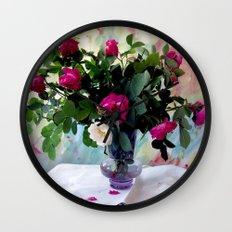 Rose Vase Still Life Wall Clock
