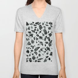 Triple Terrazzo - Mint Green Black & White Modern Speckle Pattern Unisex V-Neck