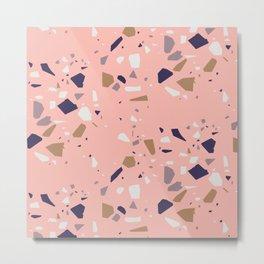 Pink Feminine Terrazzo Vector Pattern Metal Print