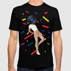 Color Chaos Collection -- The Party Never Ends MEDIUM Mens Fitted Tee Black