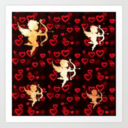 Cupids and Hearts Art Print