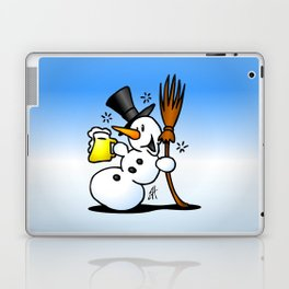 Snowman drinking a beer Laptop & iPad Skin