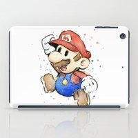 mario iPad Cases featuring Mario Watercolor by Olechka