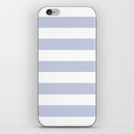 Light periwinkle - solid color - white stripes pattern iPhone Skin
